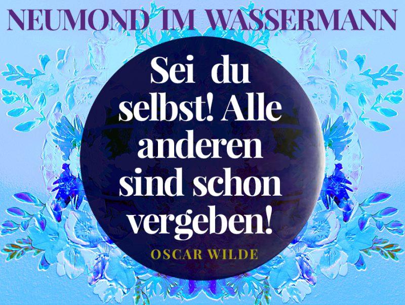 Neumond im Wassermann, Illustration und © Claudia Hohlweg für Blumoon