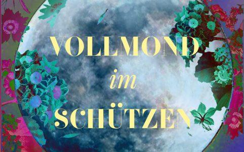 Ein illustratives Bild vom Schütze-Vollmond, Illustration und © Claudia Hohlweg für Blumoon