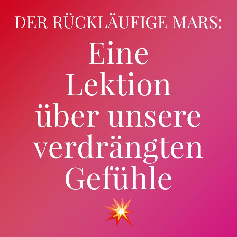Text auf rotem Hintergrund mit Verlauf,rückläufige Mars, Illustration und © Claudia Hohlweg für Blumoon
