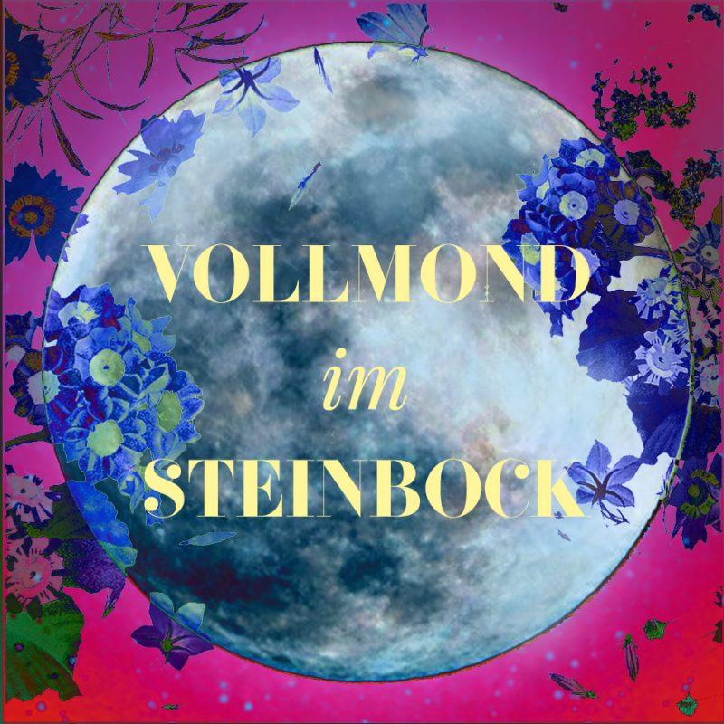 Eine farbiges Bild vom Vollond, Steinbock-Vollmond, Illustration und © Claudia Hohlweg für Blumoon