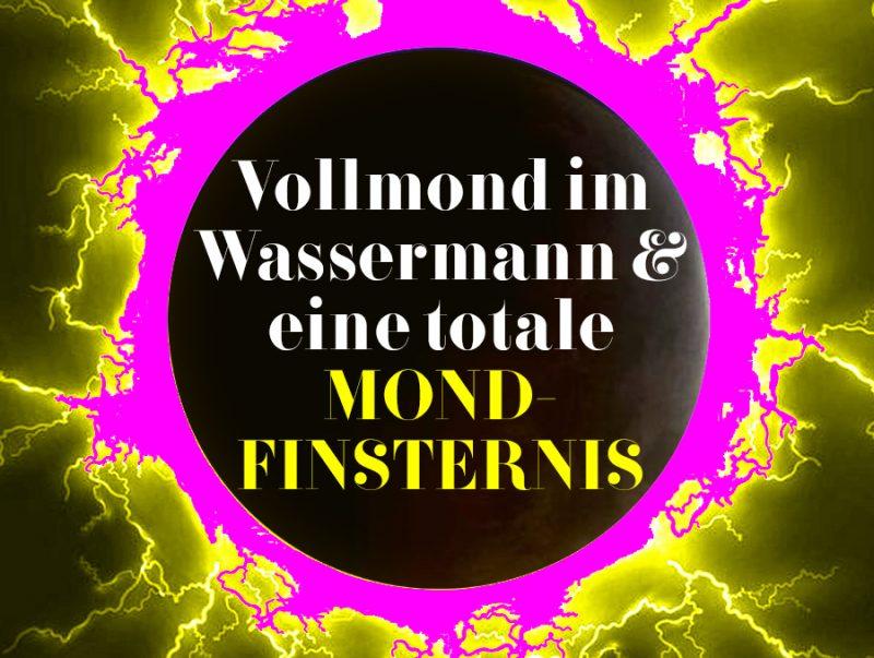 Illustration vom Wassermann-Vollmond und der Mondfinsternis, Illustration und © Claudia Hohlweg für Blumoon