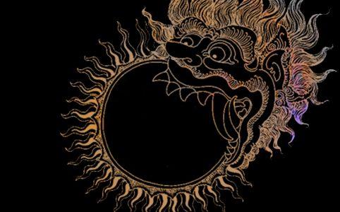 Finsternisse symbolsiert durch einen Drachen, der die Sonne verschluckt, Illustration und © Claudia Hohlweg für Blumoon
