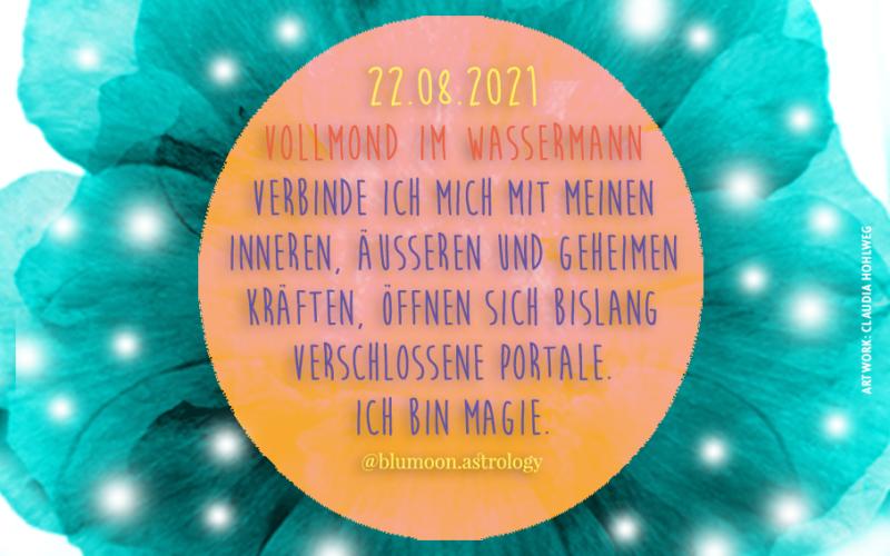 2021 Vollmond im Wassermann, Artwork und © Claudia Hohlweg für Blumoon
