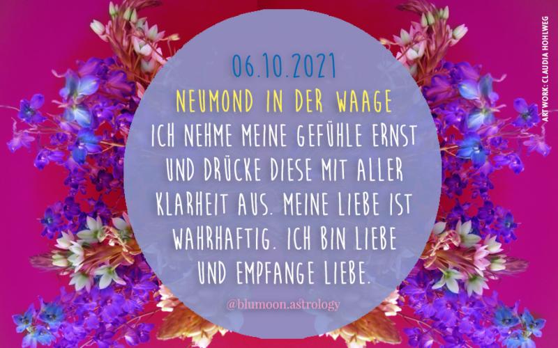 Neumond Waage, Artwork und © Claudia Hohlweg für Blumoon