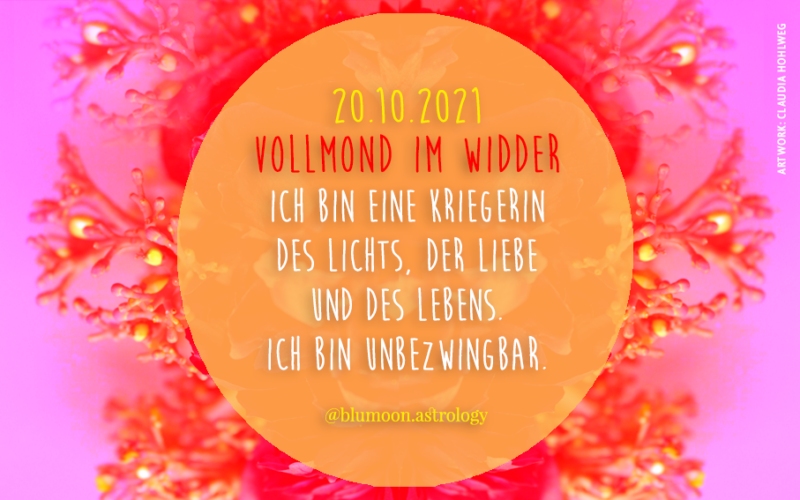 2021 Vollmond Widder, Artwork und © Claudia Hohlweg für Blumoon